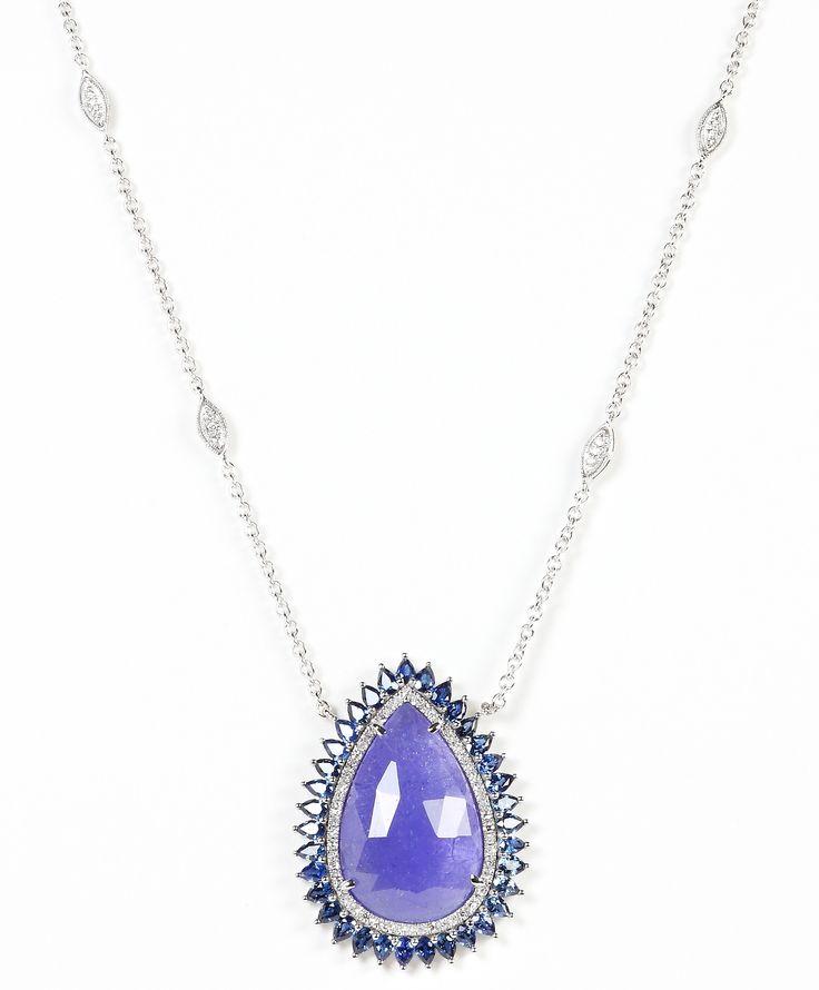 Rina Limor Signature Slice-Cut Sapphire & Diamond Pendant Necklace FxlKiA1kS7