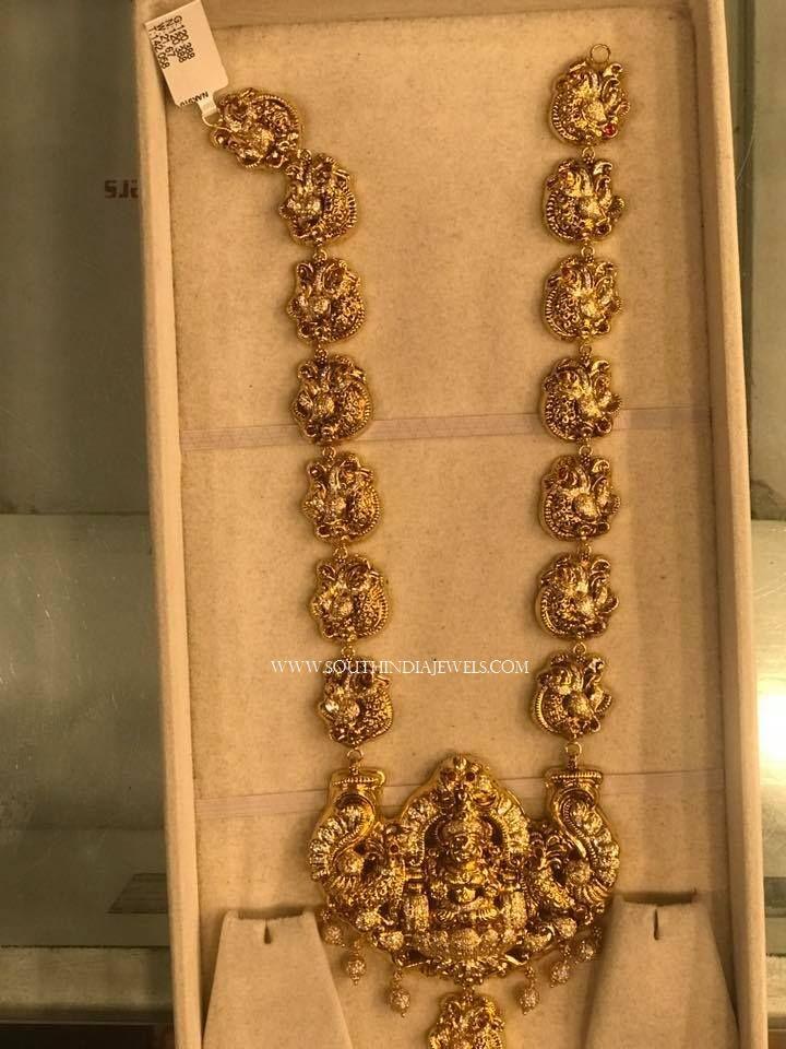 Gold Long Lakshmi Temple Haram Design Long Necklace