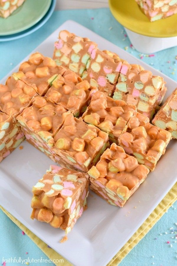 A Piece Of Butterscotch Confetti Squares With Colorful Marshmallows Peanut Butter Peanut Butter Marshmallow Peanut Butter Squares