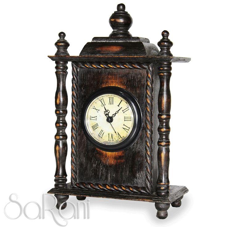 Orologio Antico Vintage Legno Scuro da Tavolo Colonne Numeri Romani Classico