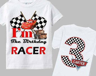 Disney Cars Birthday Shirt - Double Sided - Checkered Logo Design