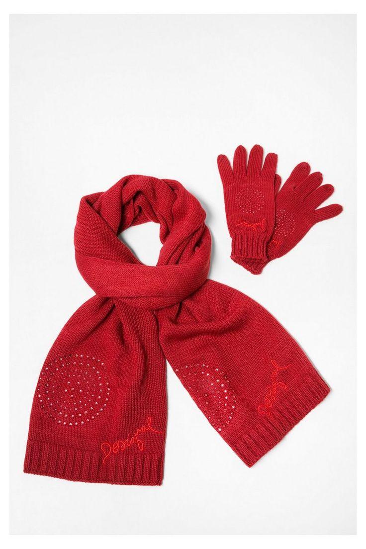 Rode sjaal met handschoenen - Pack Basic   Desigual.com