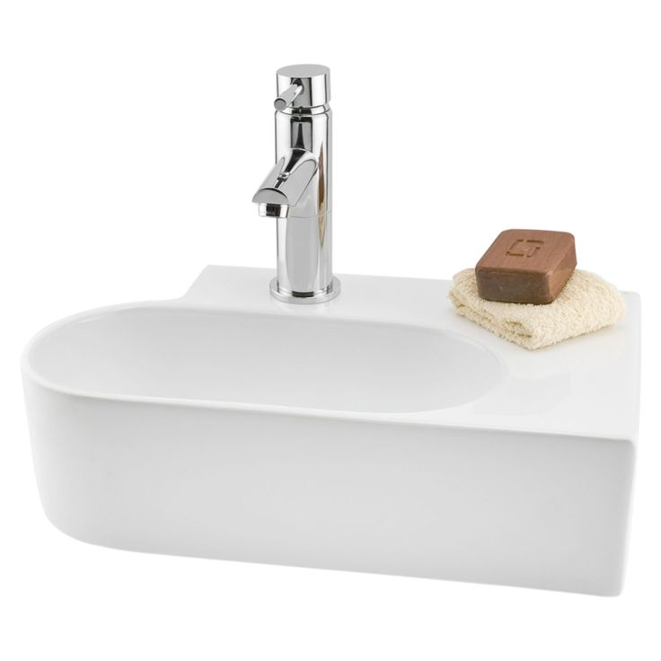 Alto Mini Offset Porcelain Wall Mount Sink