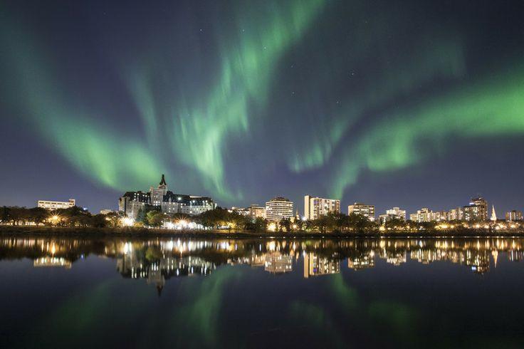 Northern Lights over Downtown Saskatoon