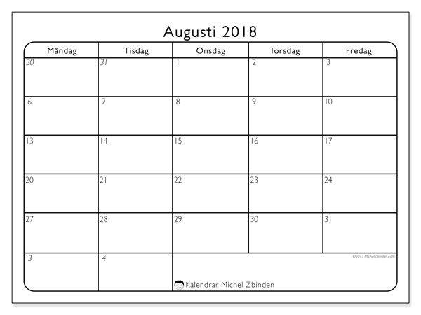 Kalender augusti 2018 (74MF). Månadskalender för att skriva ut gratis.