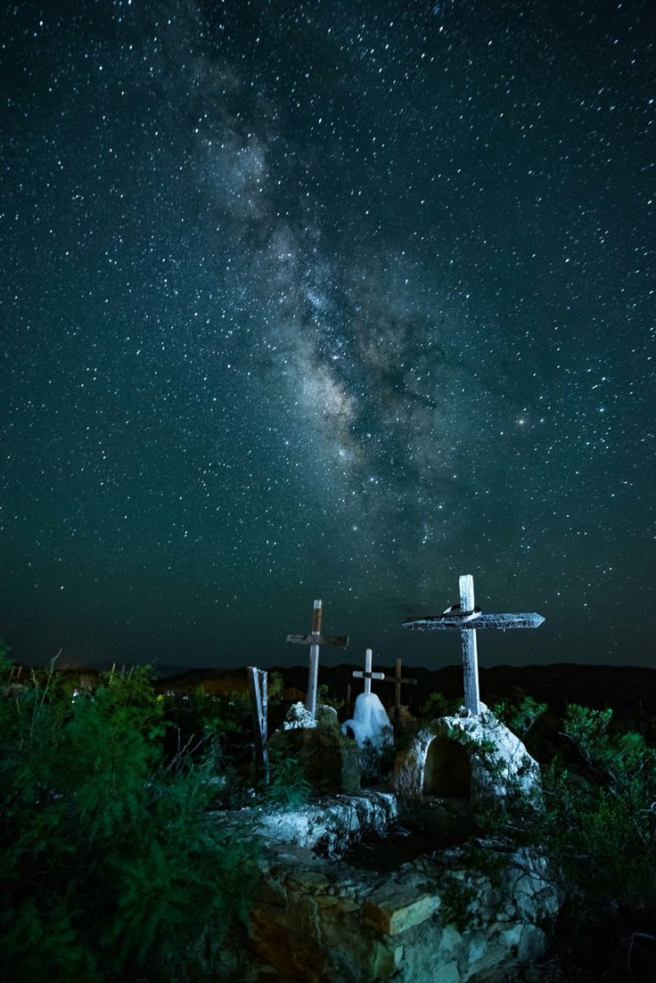 Milky Way over Terlingua ghost town cemetery