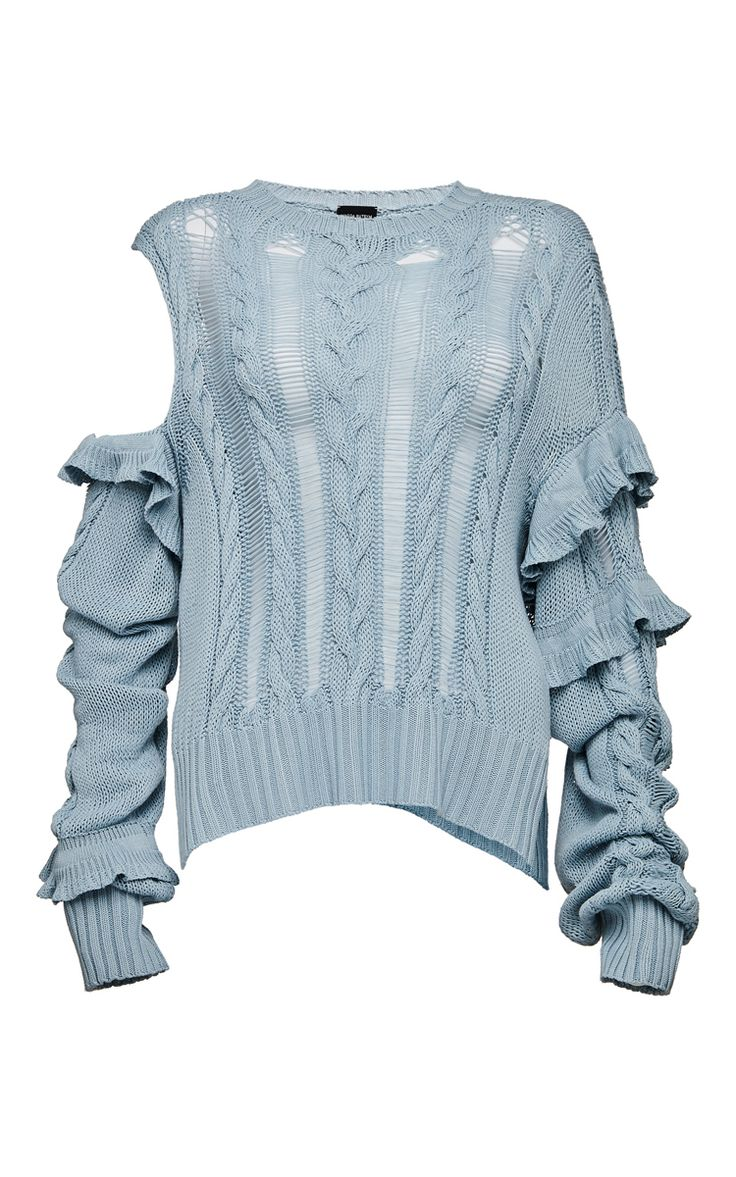 This **Magda Butrym** Exposed Shoulder Ruffled Sweater features a crew neckline, distressed knit details and an exposed shoulder.