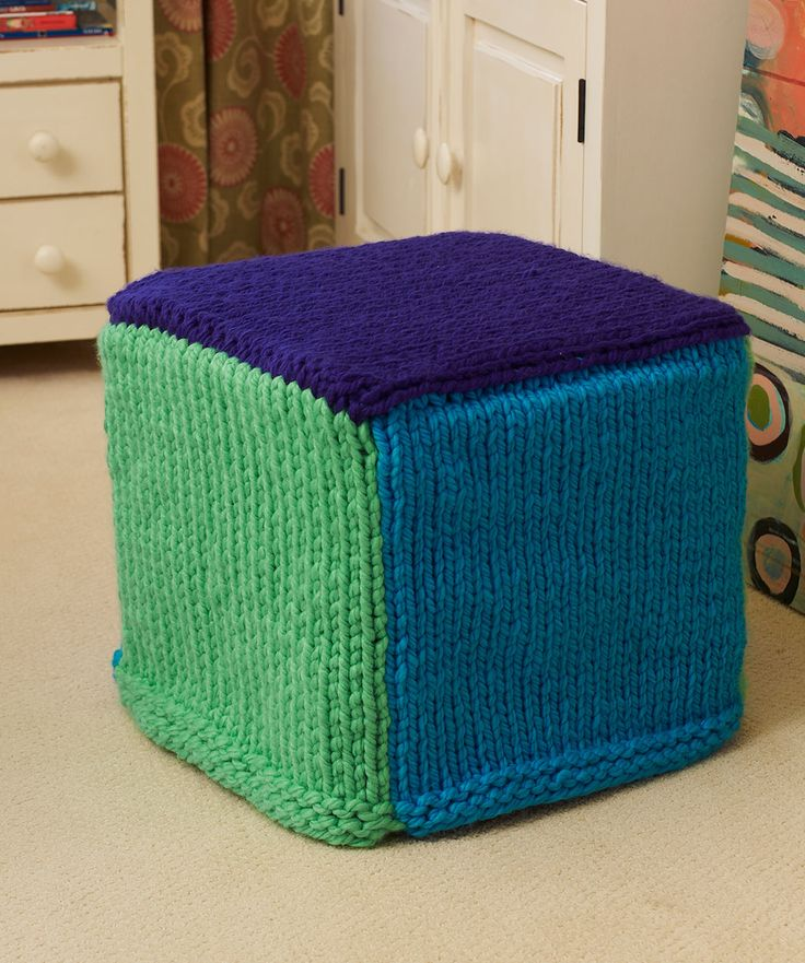 Colorful Ottoman Cover Knitting Pattern - Bright super bulky yarn makes it ea...