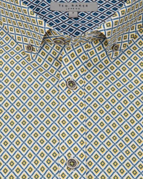 Ditsy diamond printed shirt - Yellow | Shirts | Ted Baker