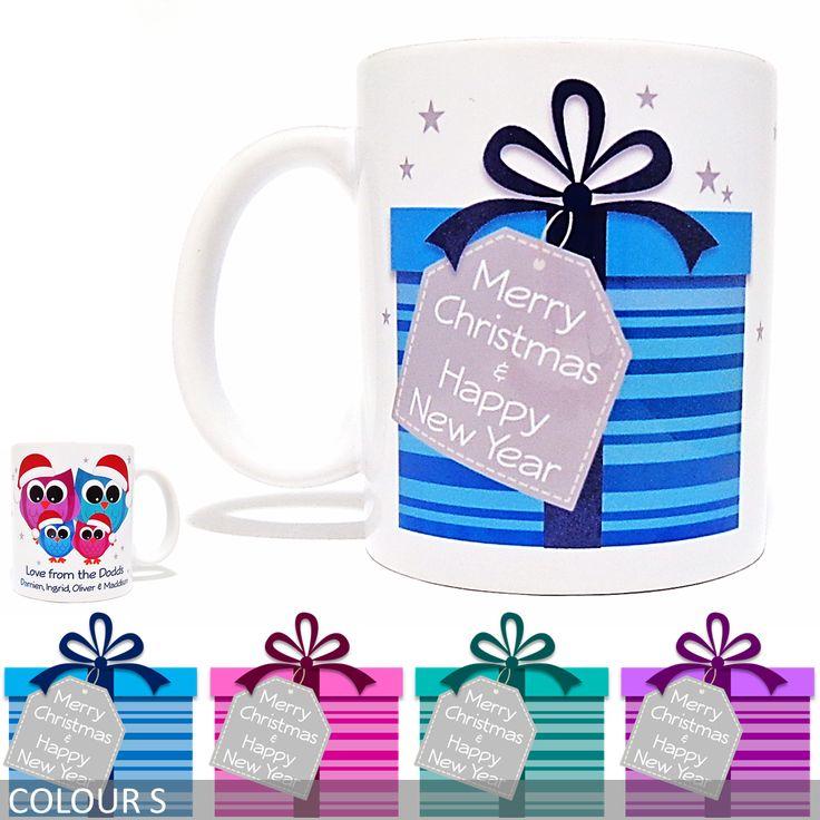Personalised Christmas Mug - Present with Owl Family
