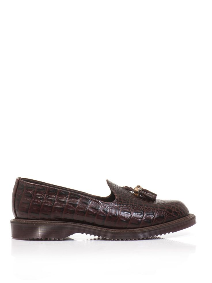$160, Burgundy Leather Tassel Loafers: Dr. Martens Arabella Embossed Leather Loafers. Sold by MATCHESFASHION.COM. Click for more info: https://lookastic.com/women/shop_items/74197/redirect