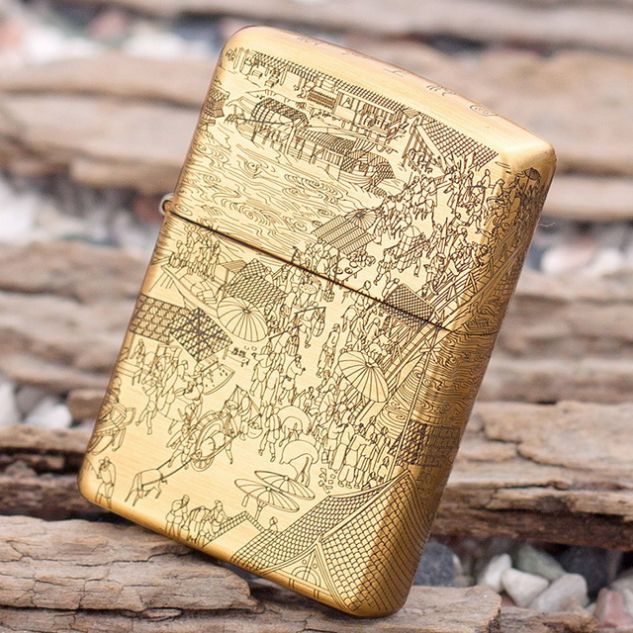 Etching Brass Chinese Famous Paintings River of Wisdom Zippo
