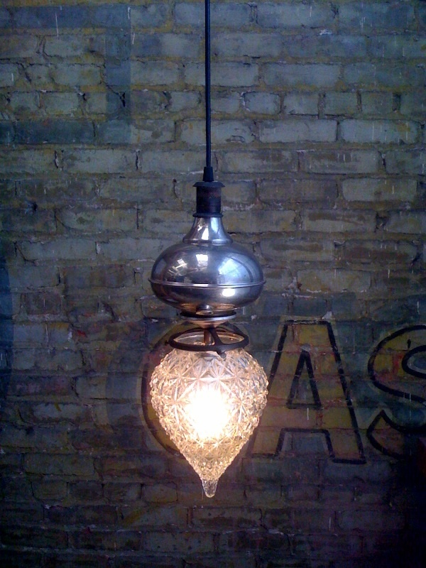 Made From Discarded Kerosene Lamp Parts And Vintage Glass