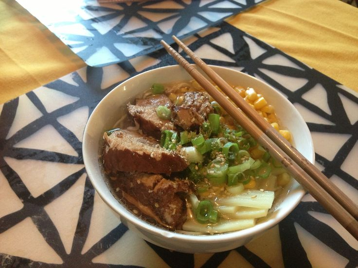 Shio Ramen - Quick Bite: Serves 1 Ingredients - Chicken broth, bamboo shoots (to taste), scallion (to taste), frozen corn OR canned corn, crushed sesame seeds (to taste) 1/2 TSP salt, marinated pork (optional), about 150g chuka soba, precooked ramen, or ramen from a packet (its not as good, so try to get chuka soba or the refridgerator ramen) Either blanch or pan sear the corn. This will be a garnish, so youll only need 30-50g. Move to side. Thinly slice 1 scallion, discarding the ends. Set…