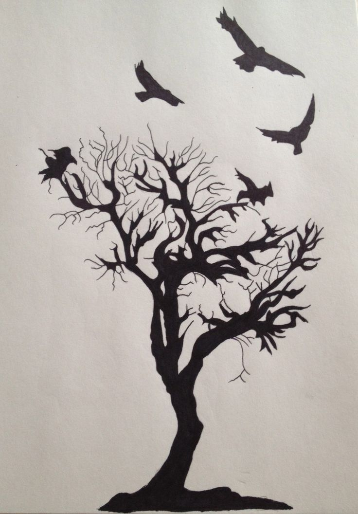 Crow and Tree tattoo. I'd want more branches and one of the crows to be a color cuz I'm different :)
