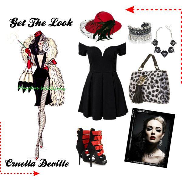 """""""cruella deville get the look"""" by ashley  #fashion #fashionblog #cruella #cruelladeville #dalmation #Disney #pinterest #blonde #blackhair #dress #shoes #heels #gothic #redlips #getthelook #highfashion #love #haydenwilliams"""