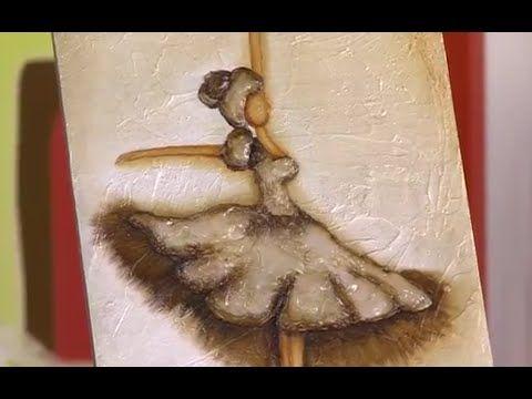 Técnica Vintage y Stencil - Como hacer un Cuadro con Vestido Muñeca- por Juan Gonzalo Angel - YouTube