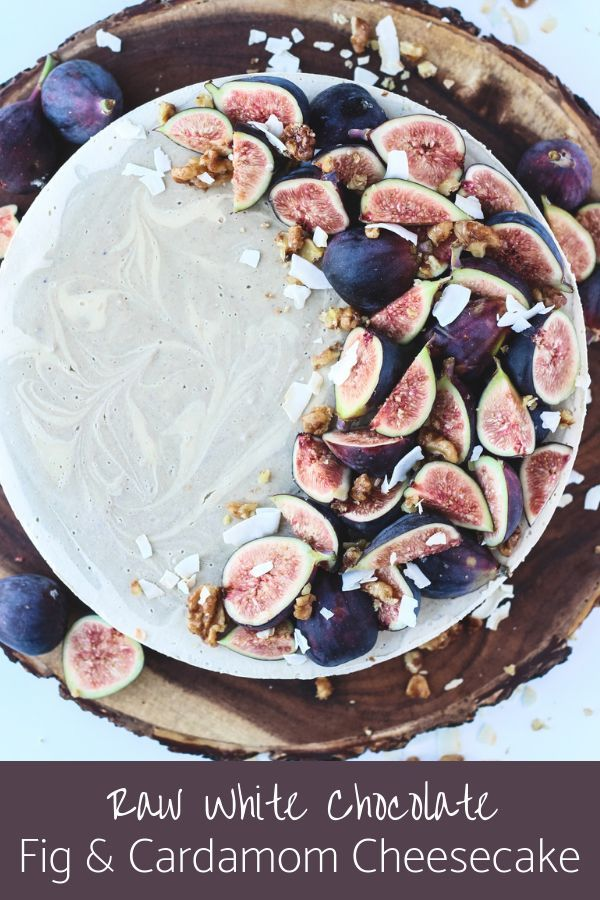 A sweet and salty walnut crust is the key to this Raw White Chocolate Fig & Cardamom Cheesecake. Topped with stunning fr…