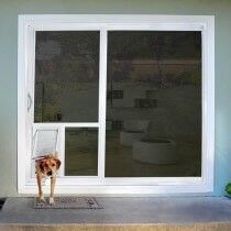 A dog door for sliding door or a cat door for sliding glass door can be installed straight through the glass.