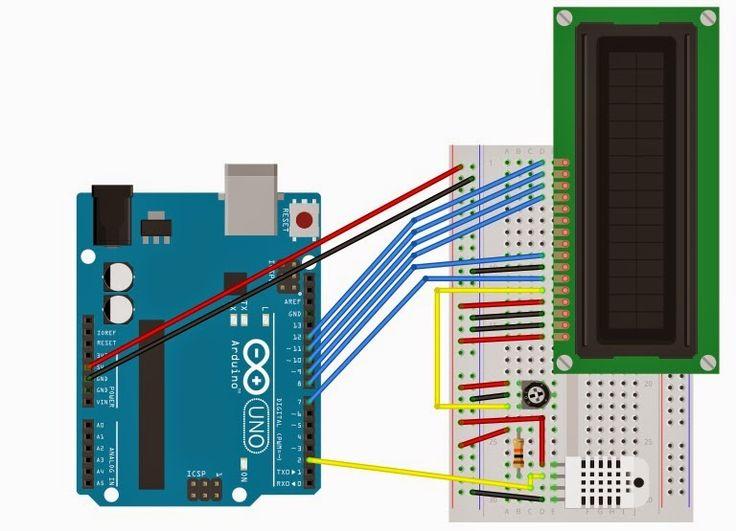 Resultado de imagen de arduino lcd robot + dht22