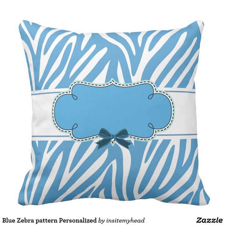 Blue Zebra pattern Personalized Throw Pillow #bag #totebag #pillow #travel #gift #black #friday #shopping #product #cool #funny #animal #tiger #lion
