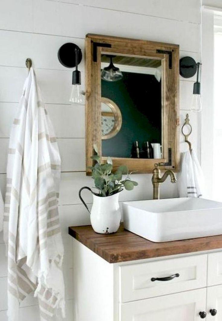 70 Modern Farmhouse Bathroom Decor Ideas Modern Farmhouse Bathroom Farmhouse Bathroom Vanity Bathroom Decor