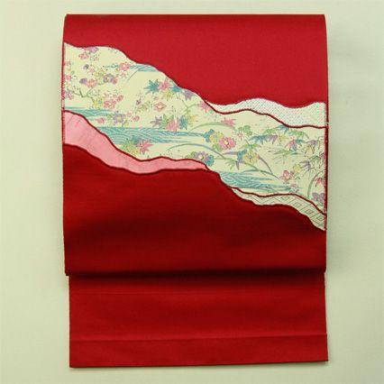 Red, hassun nagoya obi / 赤系 アップリケ風裂取り花のお太鼓柄 化繊八寸名古屋帯