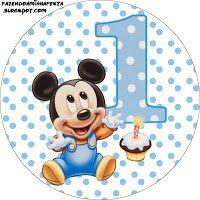 """Imprimés Thème """"Mickey - 1 An"""" : http://fazendoanossafesta.com.br/2012/07/mickey-baby-azul-poa-kit-completo-com-molduras-para-convites-rotulos-para-guloseimas-lembrancinhas-e-imagens.html/"""
