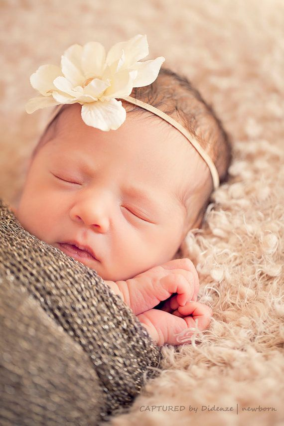 Newborn flower headband newborn photo prop baby flower headband various colors any
