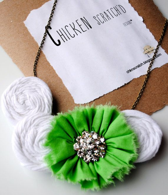 Fabric Flower Necklace- Bib Necklace- Green & White with Rhinestone Broach