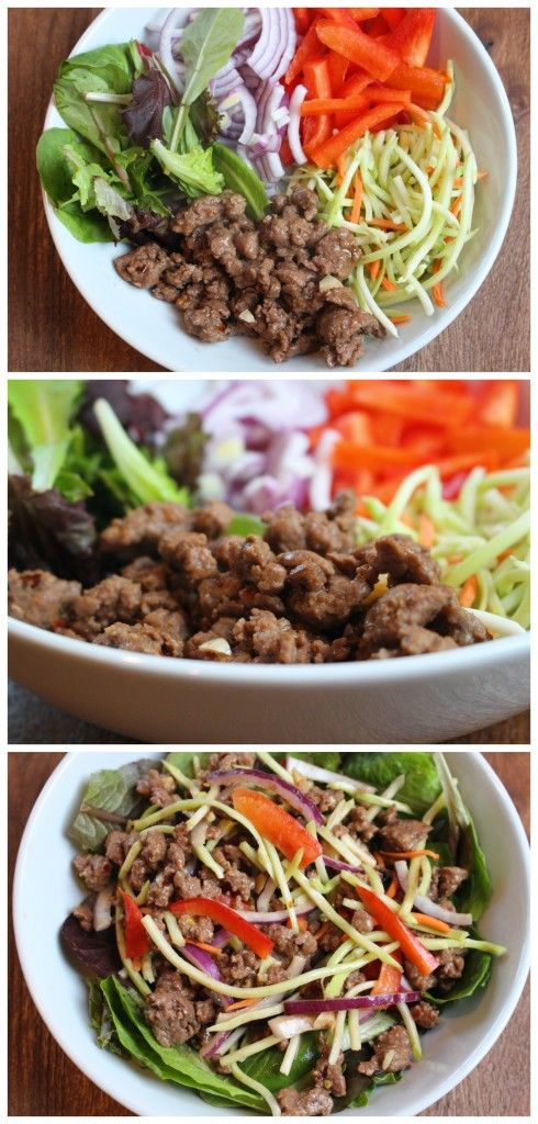 Thai Beef Salad pairs a spicy peanut sauce with fresh veggies and lean ground beef to make an easy weeknight meal. Recipe via @MomNutrition