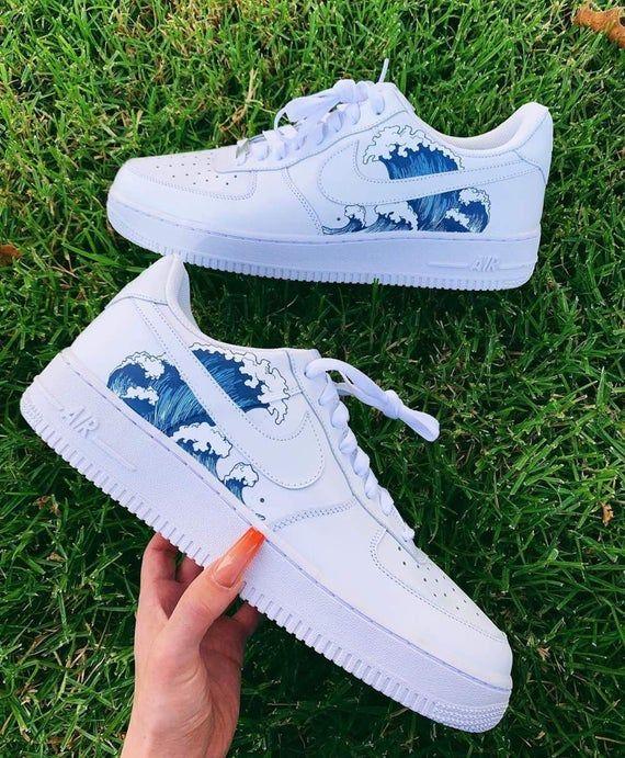 Custom BLUE WAVES Air Force 1s | Custom Sneakers, Air Force