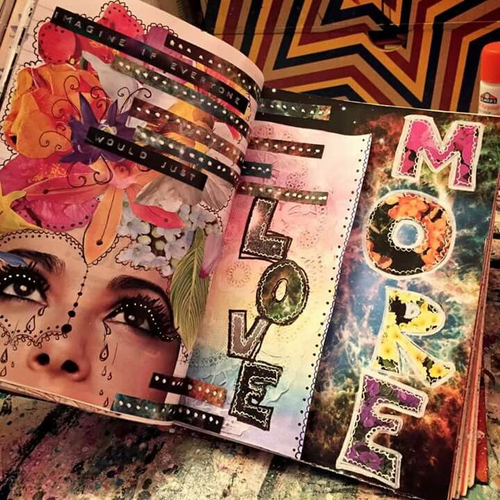 """Jenndalyn Art -  Worked on these pages last night. """"Choose love"""" and """"love more"""" and """"we are one"""" and the like are things that show up time after time in my art journal. These things are especially meaningful right now."""