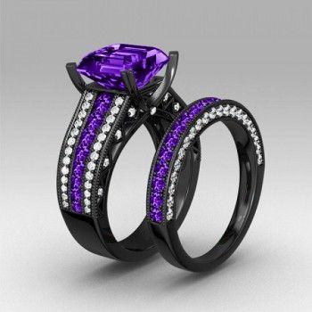 Asscher Cut Amethyst Diamond Black Gold Plated 925 Sterling Silver Engagement Ring/Bridal Set
