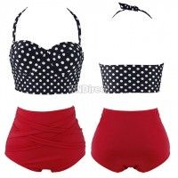 2014 new Fashion Retro 50s Pinup Rockabilly Vintage High Waist Bikini Swimwear Swimsuits