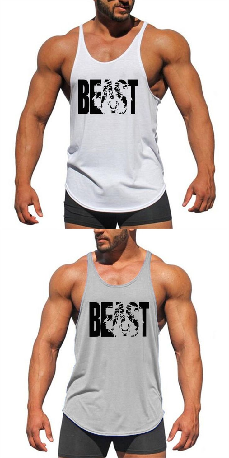 Fitness Clothing canottiere  Bodybuilding Stringer Tank Top Mens Cotton Curved hem Sleeveless shirt Workout Beast gyms vest man