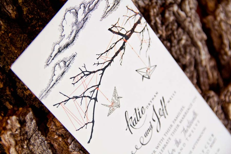 Paper Crane Wedding Invitations by SugarInkDesign.com