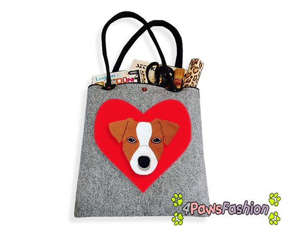 Jack Russell Terrier Felt Tote. Handmade Shoulder Bag. Long Handles. Dog Design. Everyday use. 4PawsFashion