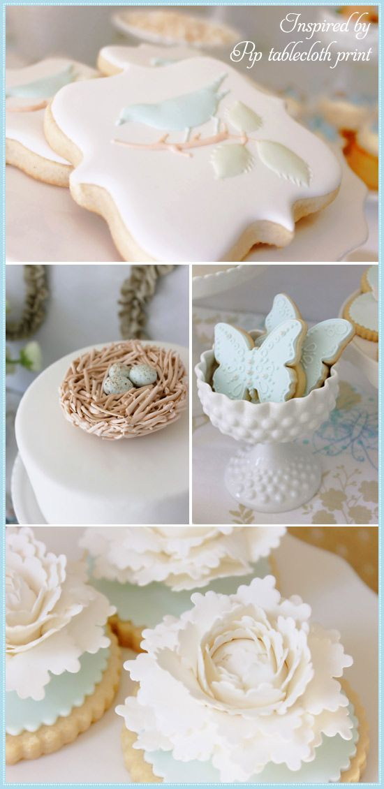Celebrate with Kate Landers! Spring dessert table for @Sarah Chintomby Nasafi Grayce. Bird and butterfly cookies by Bambella Cookie Boutique, Sugar peony cookies and fondant robin eggs and nest by Holly's Sweet Hobby