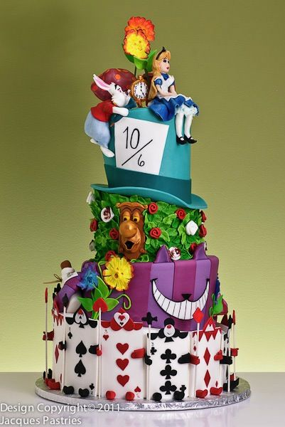 Alice in Wonderland wedding cake..love cards & laughing flowers best!