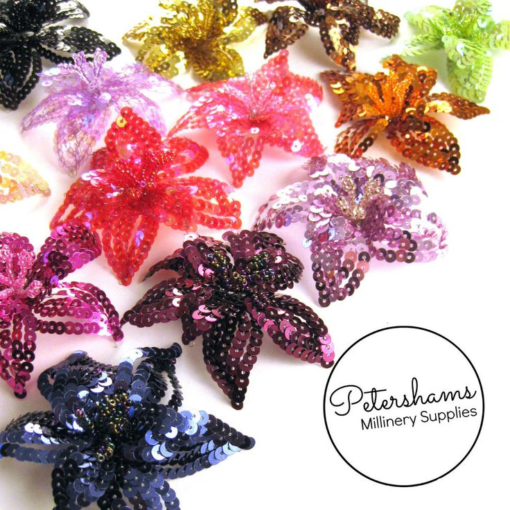 Small Wired Sequin and Beaded Flower Hat Trim for Fascinators & Millinery
