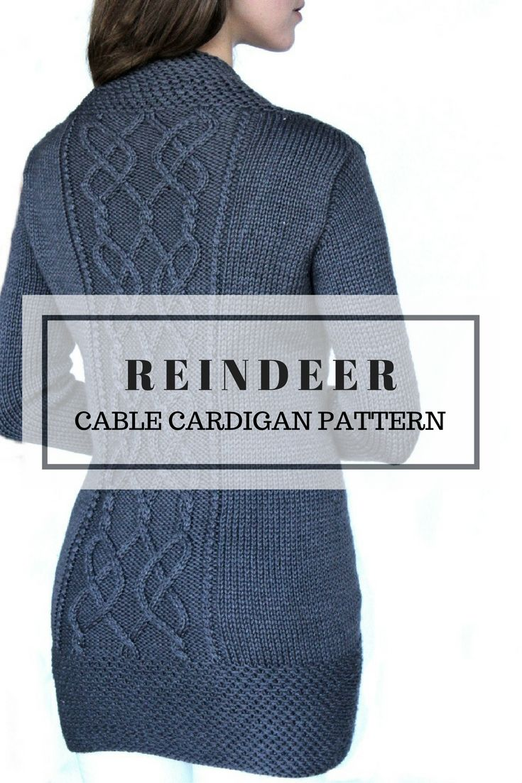 Reindeer. Cable cardigan pattern.