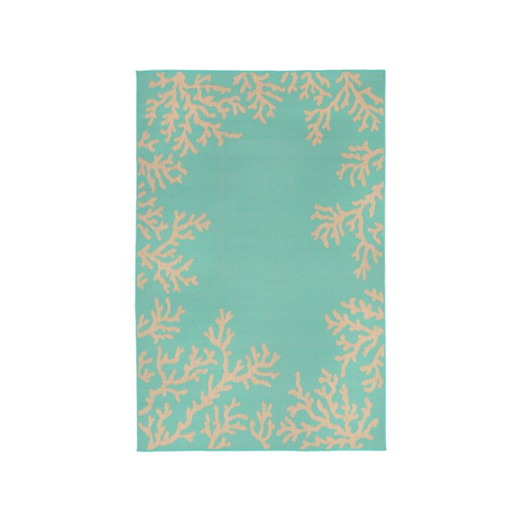 """Terrace Indoor/Outdoor Coral Border Turquoise Rug 7'10""""X9'10"""" Blue - Liora Manne"""