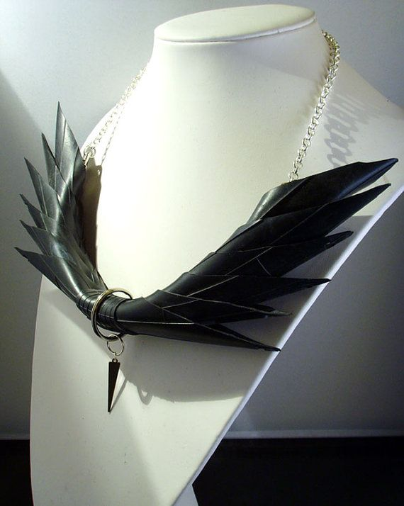 Post apocalyptic black rubber wings necklace by houseofhirudinea, £35.00