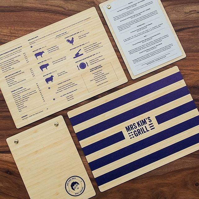 These stunning menus are printed on #bamboo with matching drinks lists. We love the use of bamboo for hospitality menus... super hardy but still beautiful to touch. #style #loveit #printonwood
