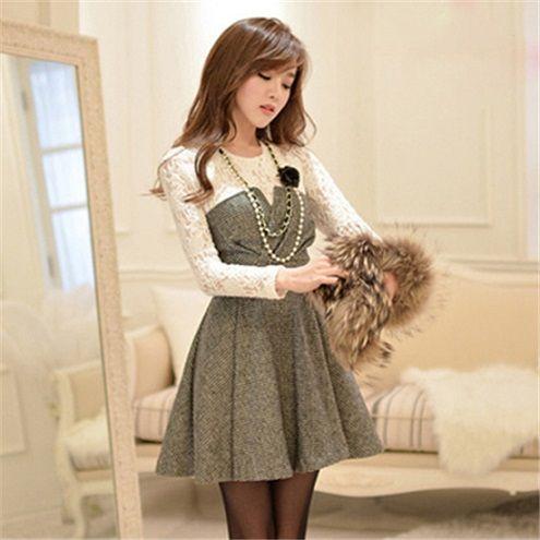 【韓国 ファッション】レース袖 切り替え 千鳥柄 フェイクツーピース 長袖 OL風スリムワンピ♪ワンピース♪セクシー ワンピース♪|luby(ルビー)の商品詳細ページです。商品説明、画像、レビューも充実。ぜひ楽しいお買いものにお役立てください!- ファッション通販SHOPLIST(ショップリスト)