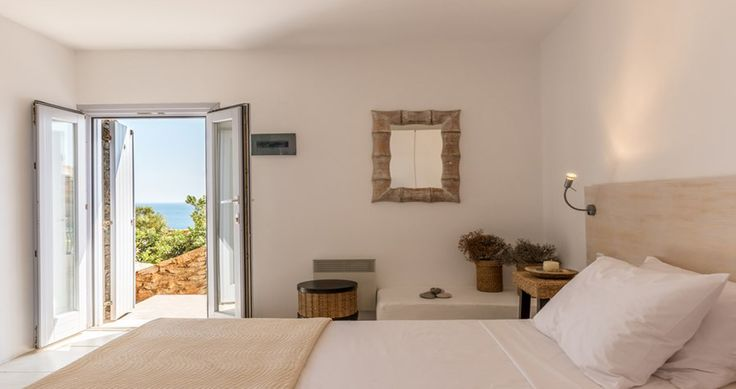 "Your bedroom during your vacation in our ""Villa Aurora"" - Mykonos, Greece. You can rent it ! #luxury #villa #rent #holidays #greece #vacances #grece #alouer #aroomwithaview #decoration #bedroom"