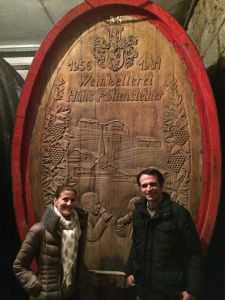 Judith and Hannes in front of the most ancient wooden barrel in our cellar - special thanks to Federica Scir for this picture! http://blog.wineterminal.com/2014/02/27/il-sogno-di-hannes-e-judith-rottensteiner/