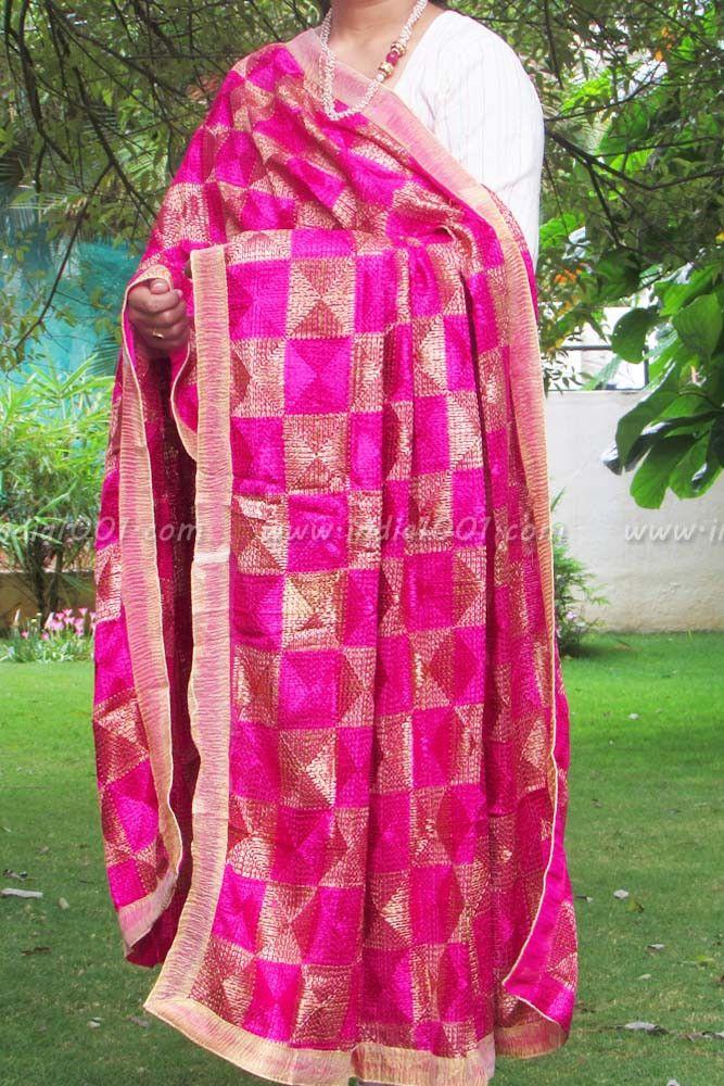 Designer Embroidered Phulkari Work Dupatta | India1001.com