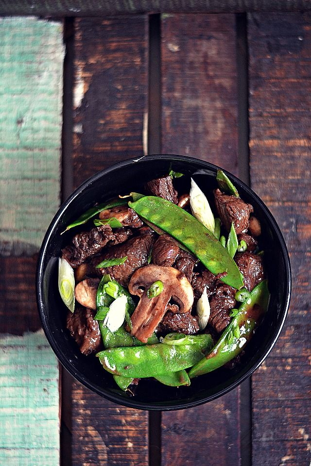 Beef Teriyaki with Snow Peas and Mushrooms from www.bakeaholicmama.com